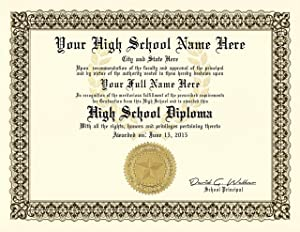 High School Diploma - Personalized with Your Info - Premium Quality - Comes with Certificate Folder