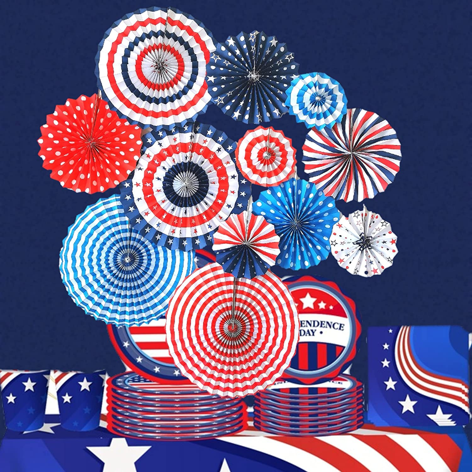 4th of July Decorations 12PCS Paper Fans for USA Patriotic Decorations, USA American Flag Red White Blue Ornament Party Decor Supplies for Memorial Day, Independence Day Veterans Birthday Party Supplies