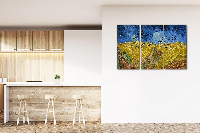 Vincent van Gogh - Weizenfeld Weizenfeld Weizenfeld mit Krähen (1890), 120 x 80 cm (weitere Größen verfügbar), Leinwand auf Keilrahmen gespannt und fertig zum Aufhängen, hochwertiger Kunstdruck aus deutscher Produktion (Alte Meister bis Moderne Kunst) 1c31b8