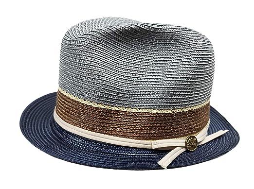 963a2a507 Stetson Rodin Straw Fedora Hat Navy/Grey Size Large 7 3/8 at Amazon ...