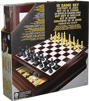 Compendio de 10 Juegos de Mesa en Caja de Madera: Amazon.es: Juguetes y juegos
