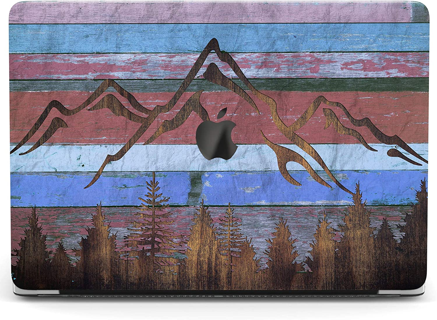 Wonder Wild Case for MacBook Air 13 inch Pro 15 2019 2018 Retina 12 11 Apple Hard Mac Protective Cover Touch Bar 2017 2016 2020 Plastic Laptop Print Mountain Forest Wooden Planks Art Grunge Reclaimed