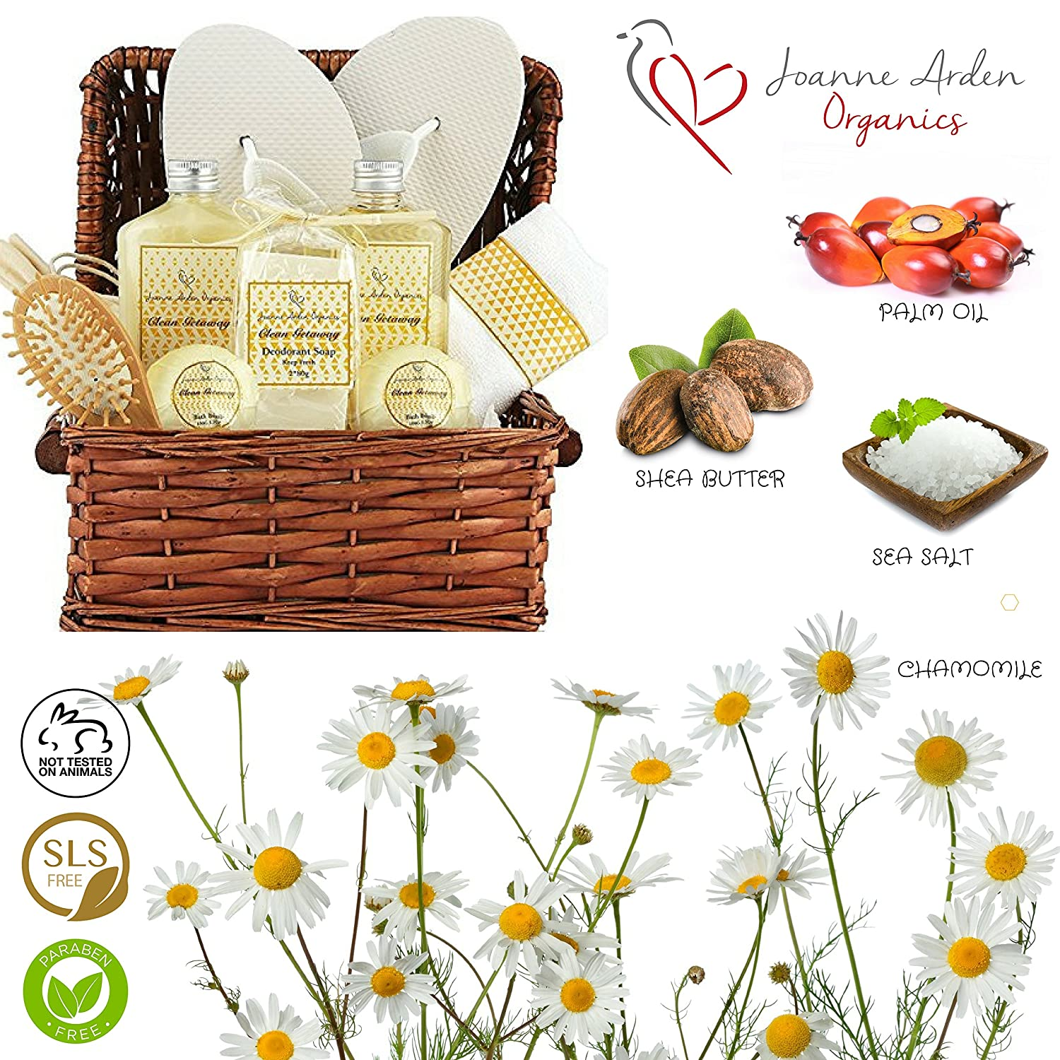 Deluxe Spa Gift Basket, Bath and Body Set for her Birthday Perfect Gift Set For Woman All-Natural Spa Treat Gift Basket Clean Getaway Basket