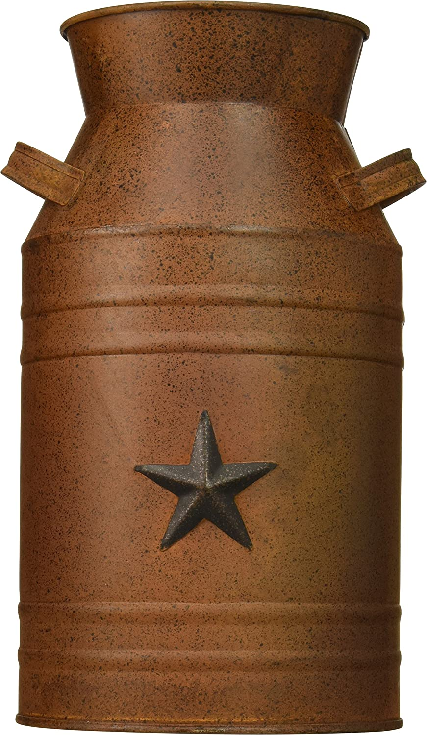 Craft Outlet Milk Can Container with Star Attached, 10.5-Inch, Rust