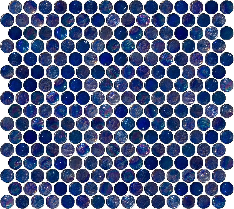 Susan Jablon Mosaics Penny Round Navy Blue Iridescent Glass Tile Amazon Com