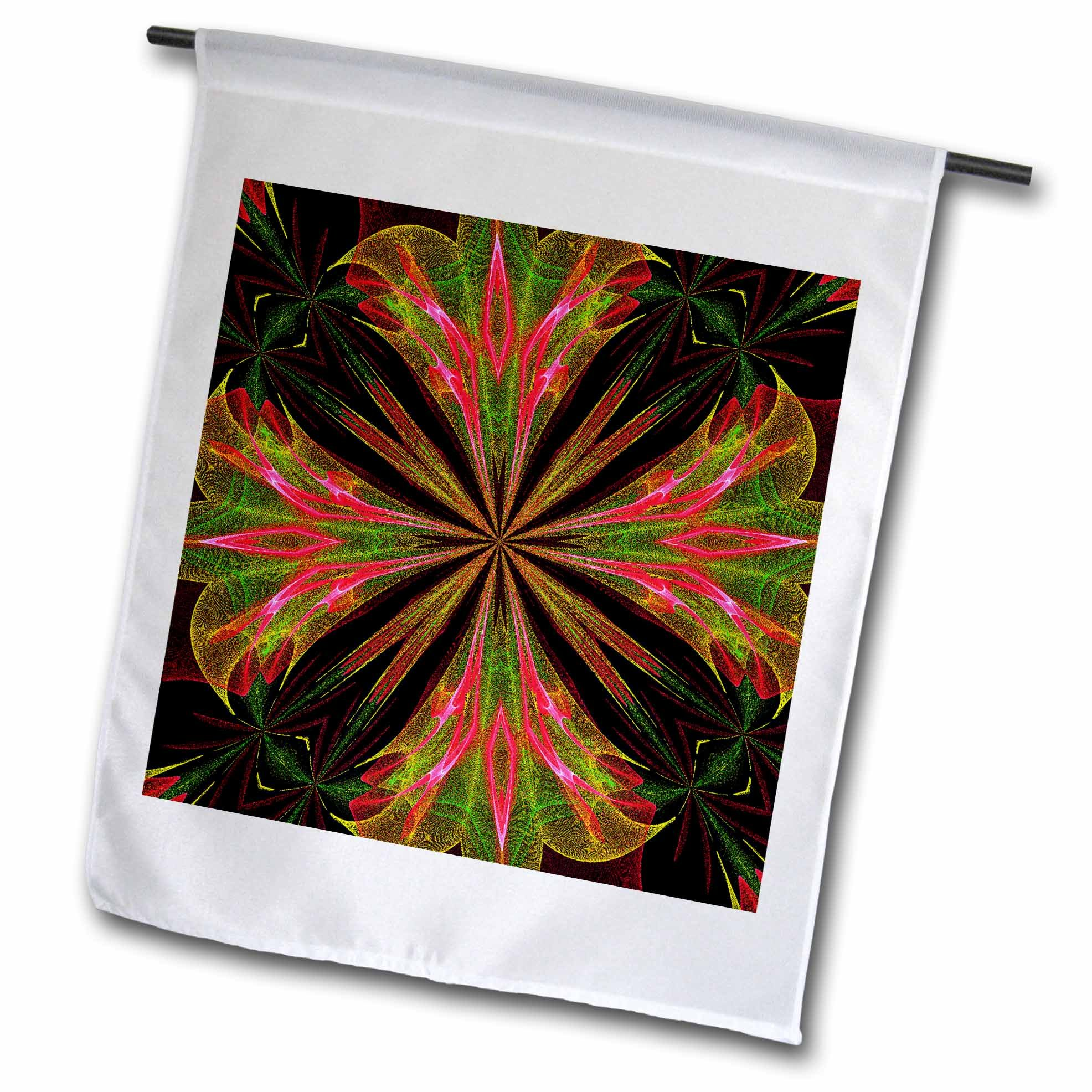 3dRose Renderly Yours Patterns - Abstract Green, Pink, and Yellow Fountain Flower - 18 x 27 inch Garden Flag (fl_269422_2)