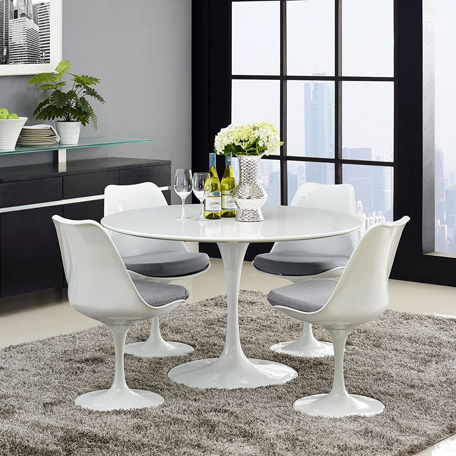 Amazon Modway Lippa 47 Wood Top Dining Table In White Kitchen