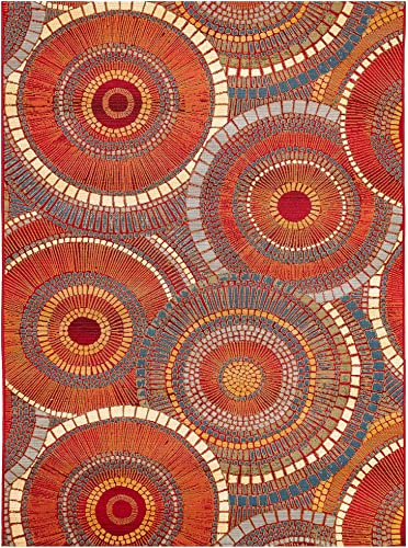 Liora Manne Marina Indoor Outdoor Rug, 7 10 x 9 10 , Circles Saffron
