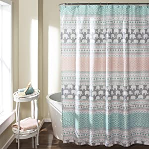 "Lush Decor 16T000122 Elephant Stripe Shower Curtain, 72"" x 72"", Turquoise/Pink"
