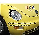 Car Eyelashes Vinyl conforming Decals USA 7 yr warranty Customized fit to oval headlight VW Mini Fiat USA