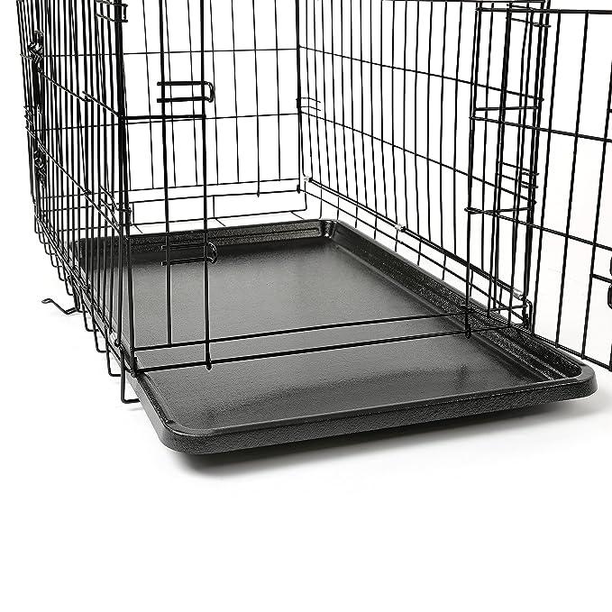 TRESKO® Jaula de Transporte Plegable para Perros (M 75 x 46 x 51 cm), Cachorros y Otro Tipo de Mascotas, Jaula de Metal con Bandeja extraíble ...