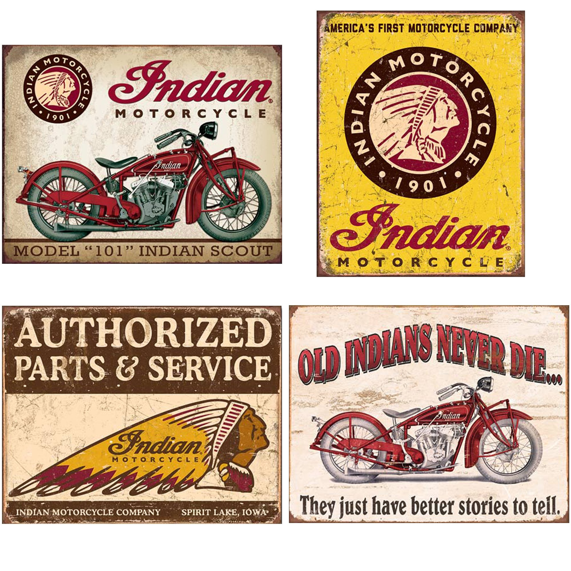 Indian Tin Sign Bundle - Indian Scout, Indian Motorcycles Since 1901, Authorized Indian Parts and Service, Indian - Better Stories