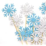 PuTwo 20 Counts Wedding Cake Decorating Frozen Cupcake Toppers Toothpicks, Sliver/Blue/Snow