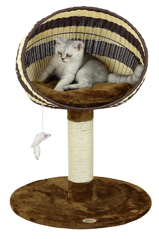 33-Inch Go Pet Club Rattan Wicker Cat Tree Bed Furniture, 33-Inch