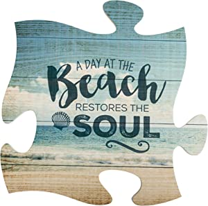 P. Graham Dunn Day at The Beach Restores The Soul 12 x 12 Wall Hanging Puzzle Piece Plaque