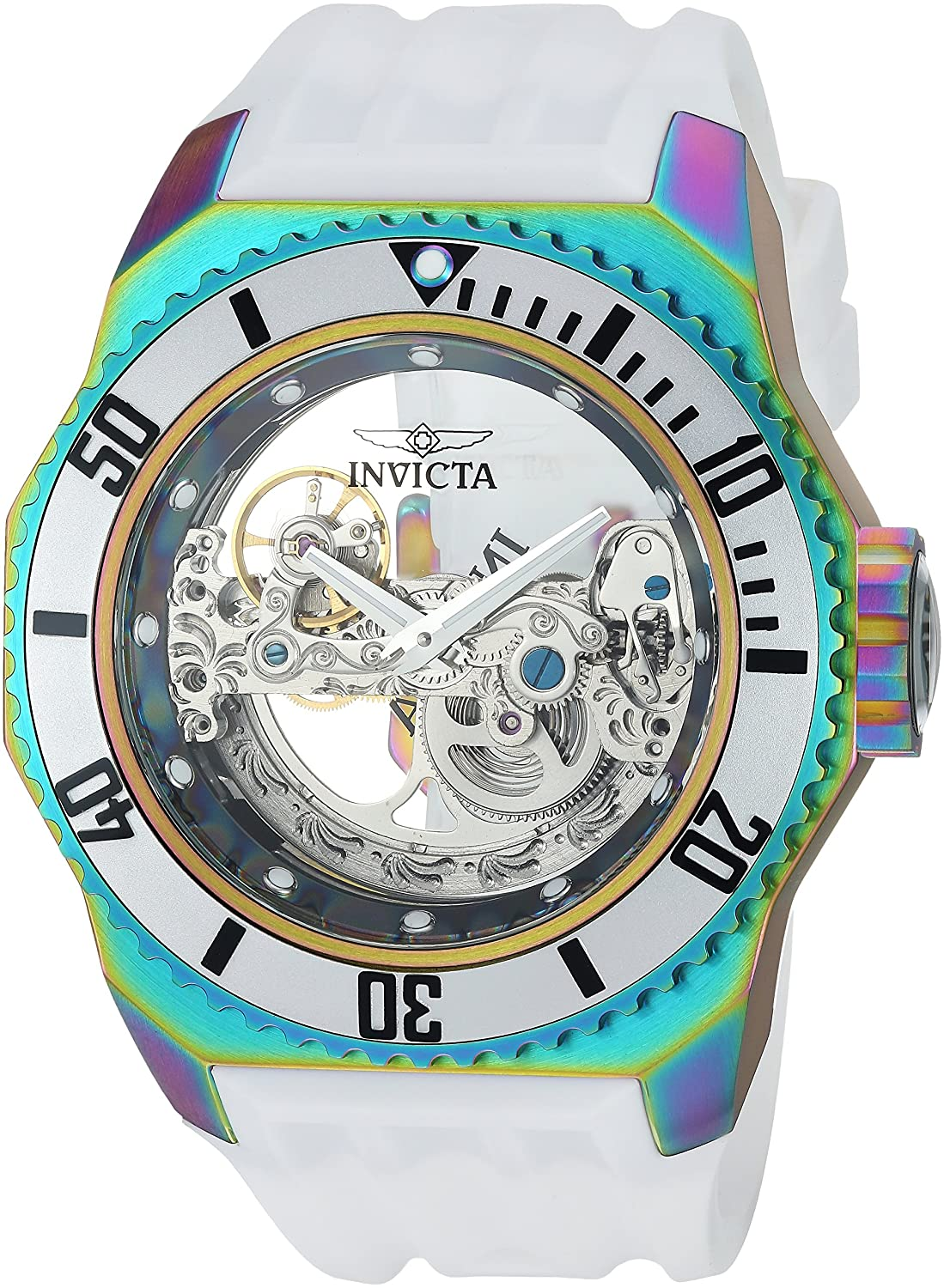 Invicta Men 's ' Russian Diver ' Automaticステンレススチールand Silicone Casual Watch, Color : White (Model : 25629 ) B0796DB7HL