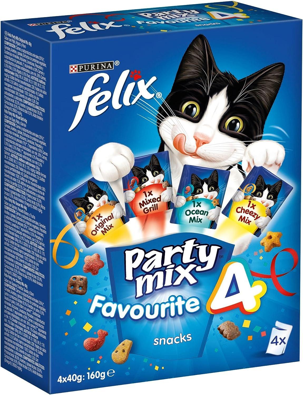 Purina Felix Party Mix Surtido Snacks, golosinas y chuches para gato 6 x [4 x 40 g]