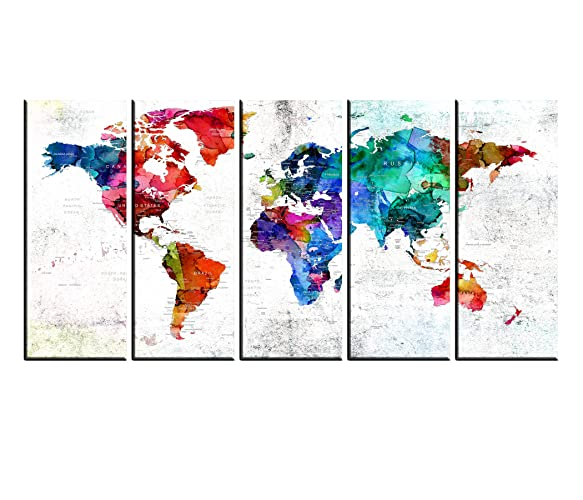 Amazon Com Large Canvas Print World Map Wall Art For Living Room