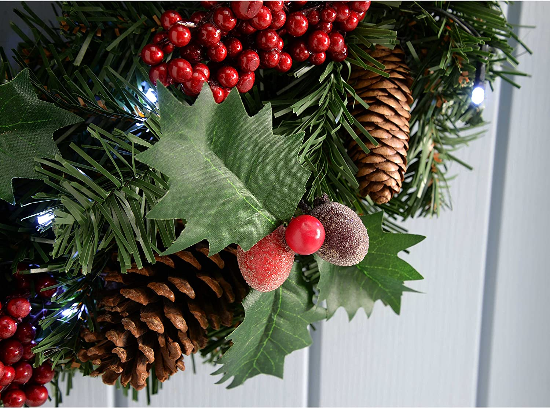 WeRChristmas diametro: 60 cm illuminata da 20 LED Ghirlanda natalizia decorativa luce bianca con pigne e bacche