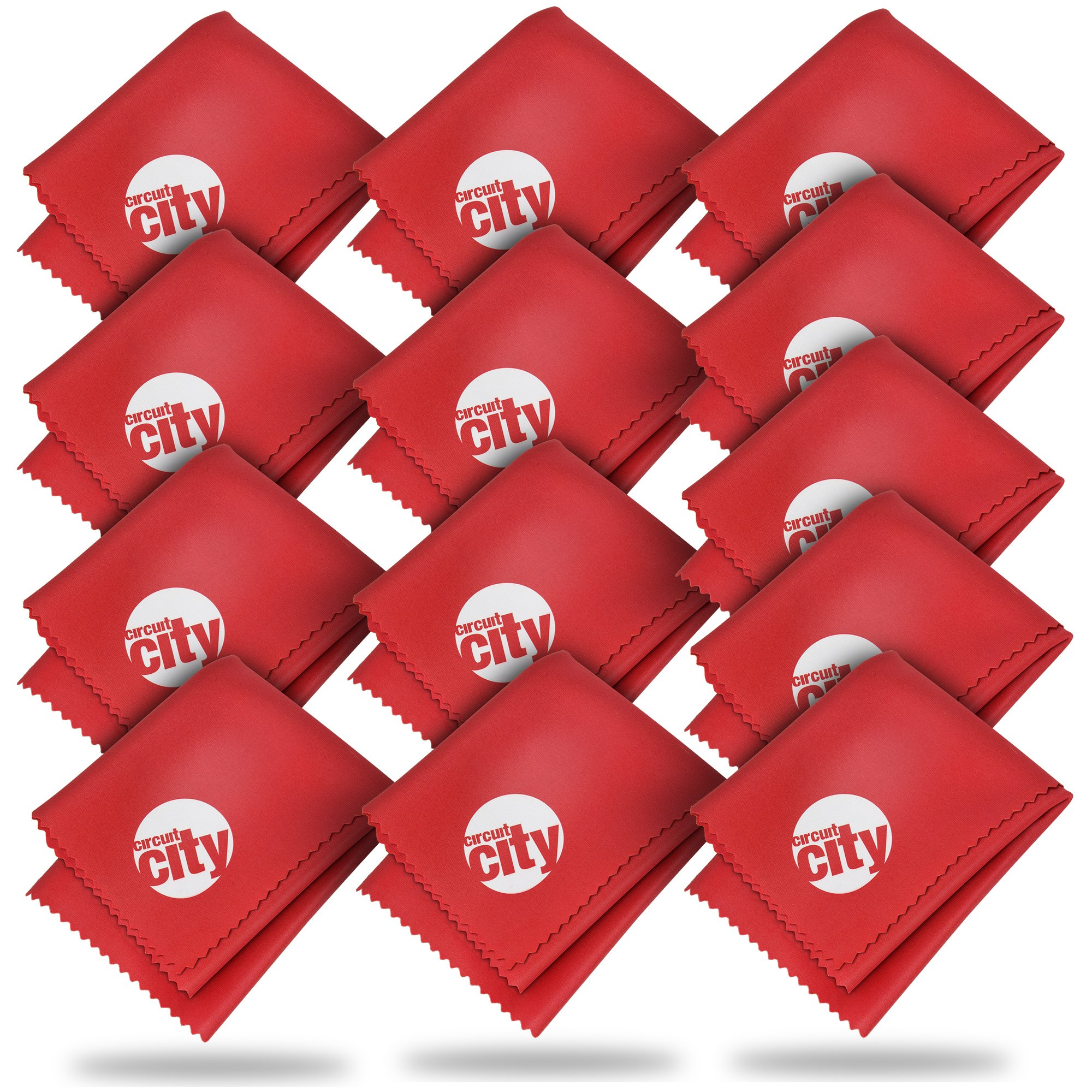 (13 Pack) Circuit City Premium Microfiber Cleaning Cloths for Tablets, Cell Phones, Laptops, LCD TV Screens, Lenses, and More (Red) by Circuit City