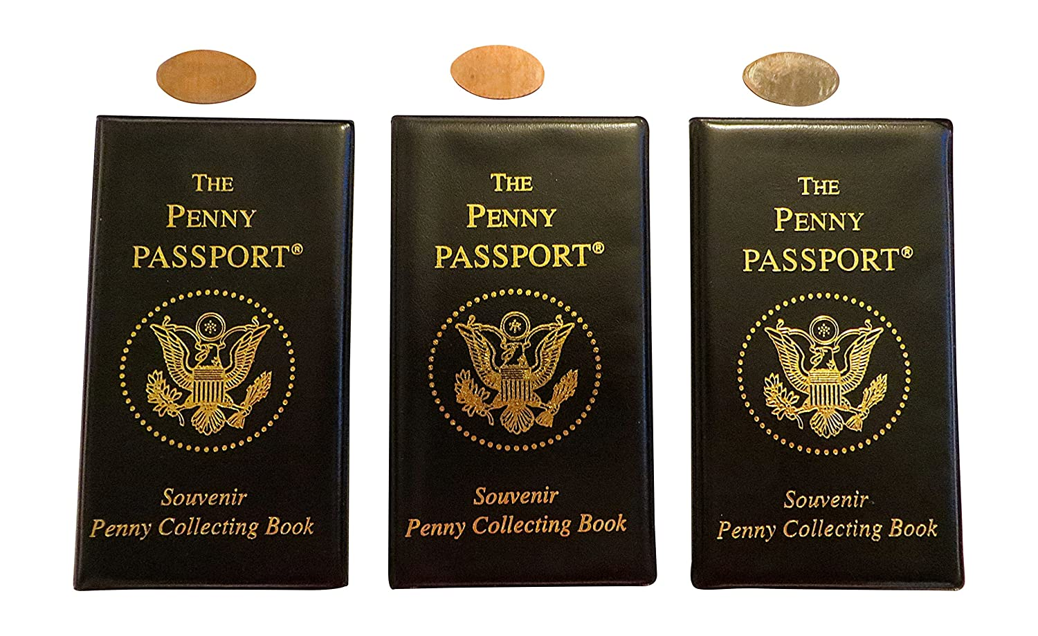 3 Penny Passport Souvenir Elongated Coin Albums With Free Pressed Pennies CTM