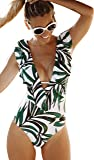 Sporlike Women One Piece Swimsuit V-Neck Ruffle Bathing Suit Padded Monokini