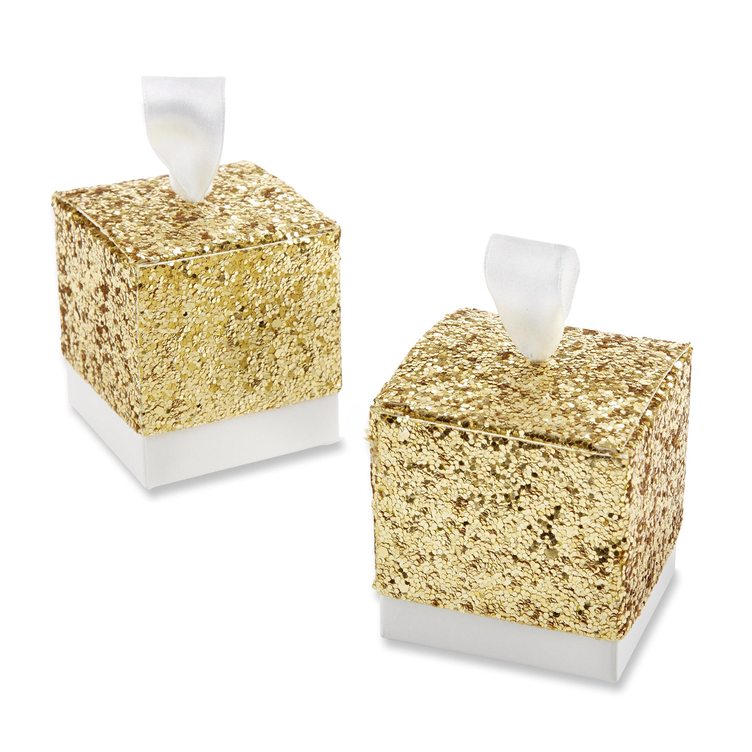 Amazon.com: Kate Aspen Sparkle and Shine Silver Glitter Favor Box ...