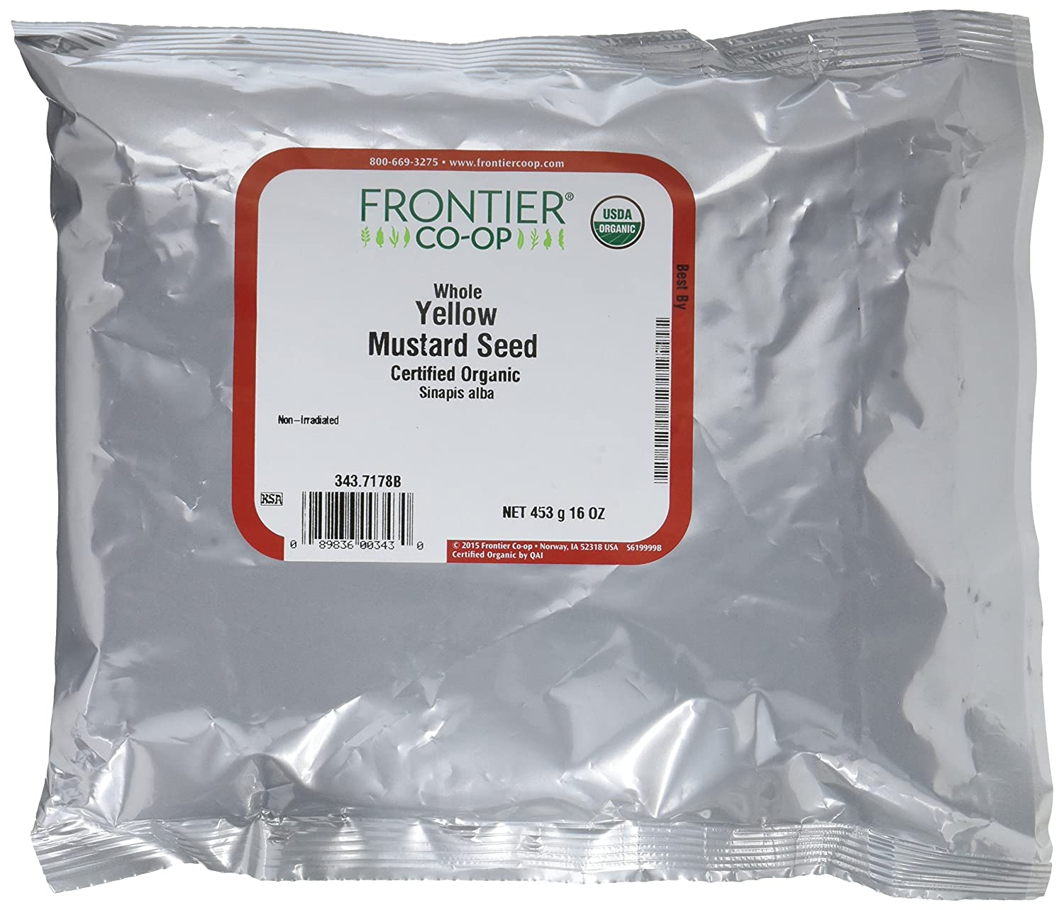 Amazon : Frontier Coopanic Yellow Mustard Seed, Whole, 1 Pound  Bulk Bag (pack Of 2) : Mustard Spices And Herbs : Grocery & Gourmet Food