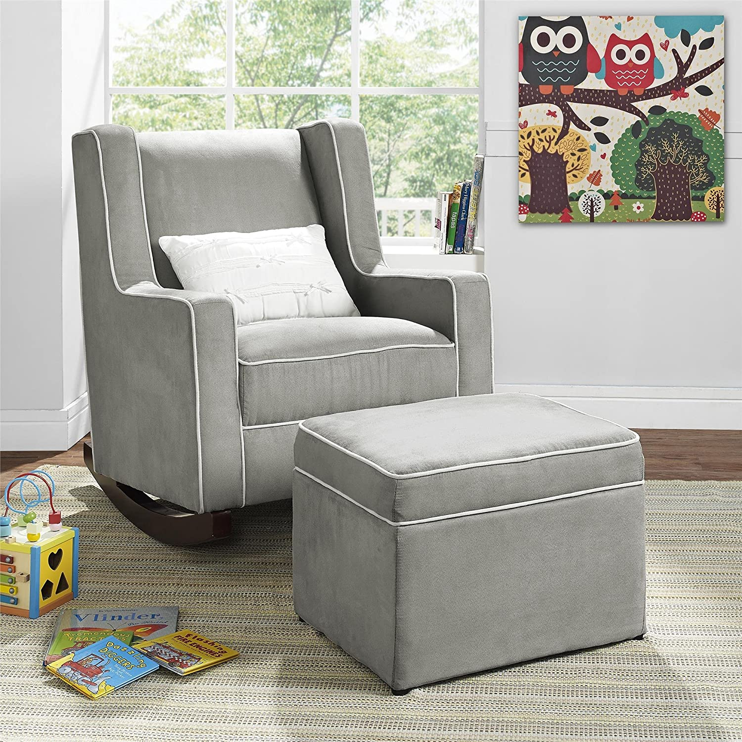 Nursery chair and ottoman - Amazon Com Baby Relax The Abby Nursery Storage Ottoman For Baby Gliders Grey Kitchen Dining