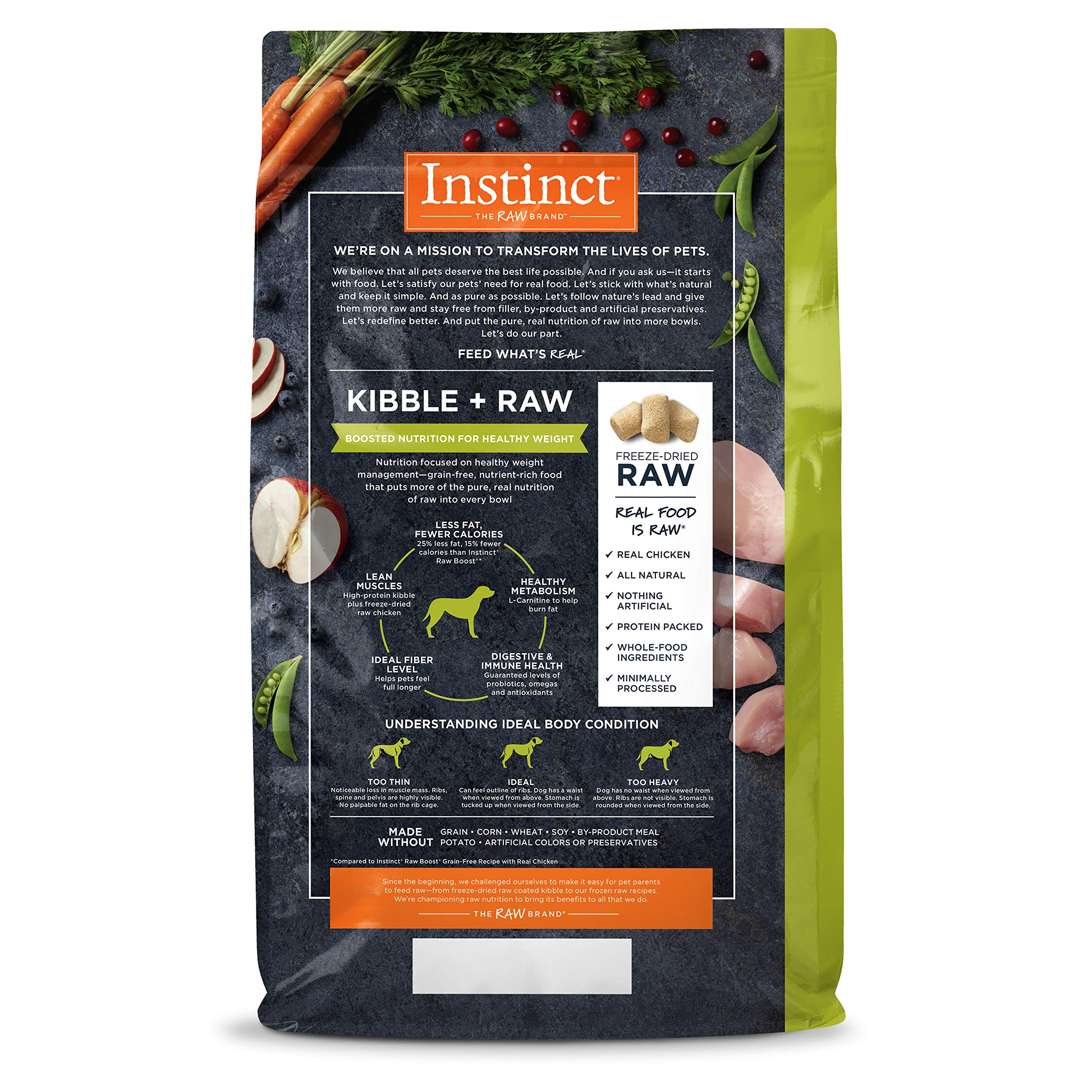 Instinct Raw Boost Healthy Weight Grain Free Recipe with Real Chicken Natural Dry Dog Food by Nature's Variety, 20 lb. Bag by Instinct (Image #2)