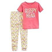 Carter's Baby Girls' Little Planet Organics 2-Piece Cotton Pajamas, Pink Sleepy Head, 12 Months