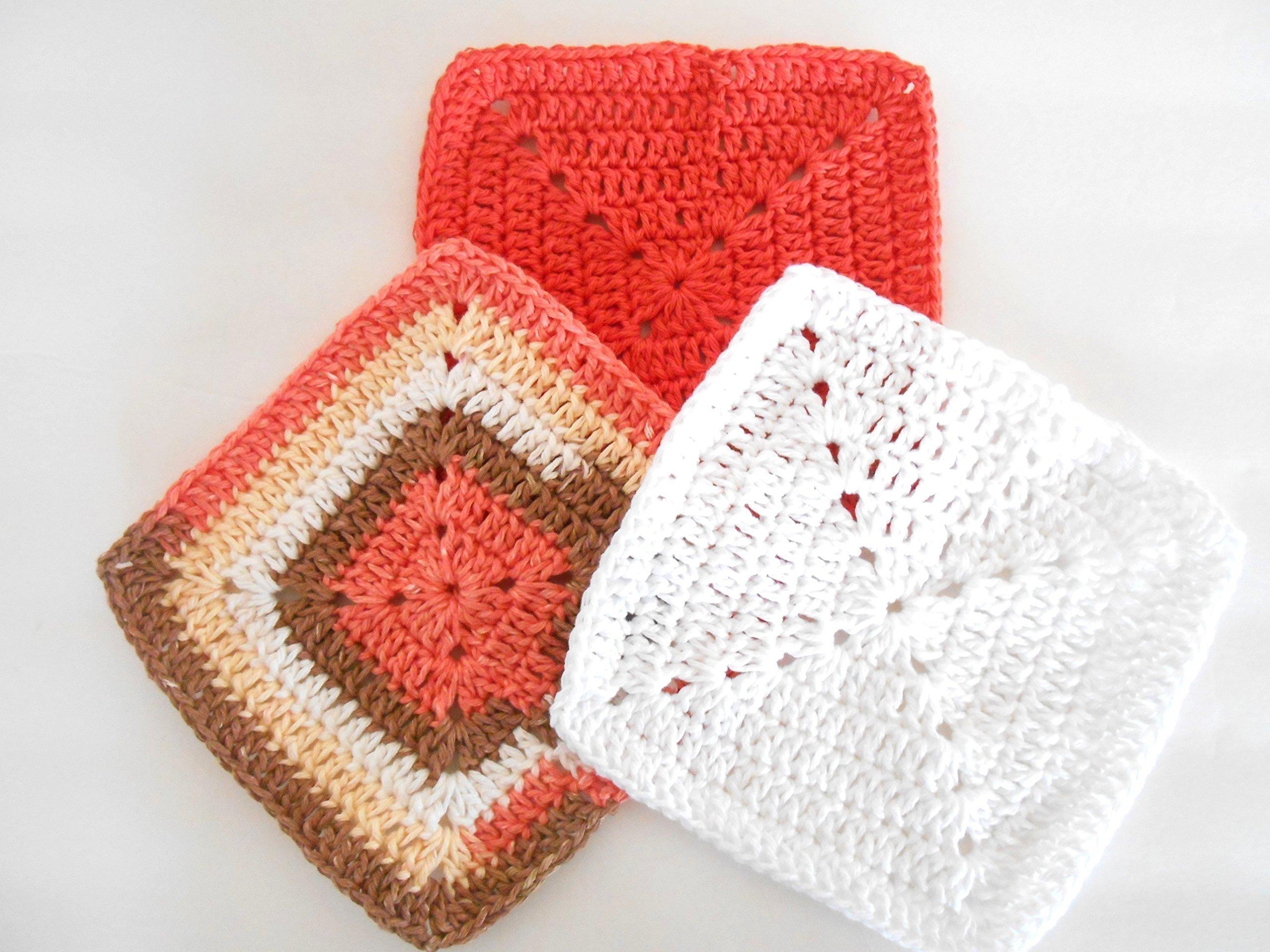Crochet Kitchen Dishcloths, Set of Three