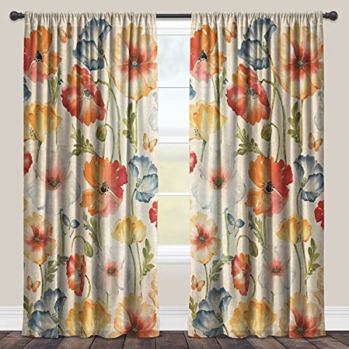 Laural Home Multi Watercolor Poppies Sheer Window Curtain 84×50