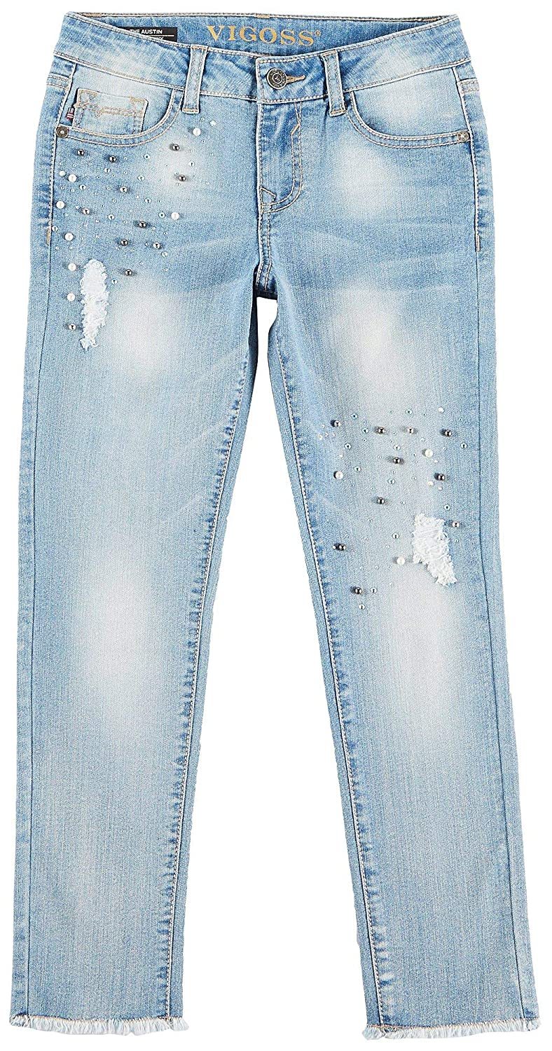 VIGOSS Big Girls Diamonds /& Pearls Frayed Jeans 7 Light wash Blue