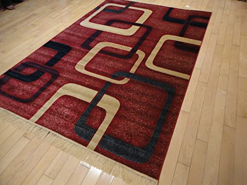 New Modern Rugs For Bedroom 5×8 Red Area Rugs Rugs For Living Room 5×7 Navy Red Beige Contemporary Rugs 5 by 7 Rugs for Kitchen Dining Room Rug
