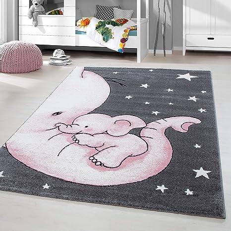 Balon TT Home Kinder-Teppich,F/ür Kinderzimmer Mond Gr/ö/ße:80x150 cm B/är Elefant Kurzflor in Beige