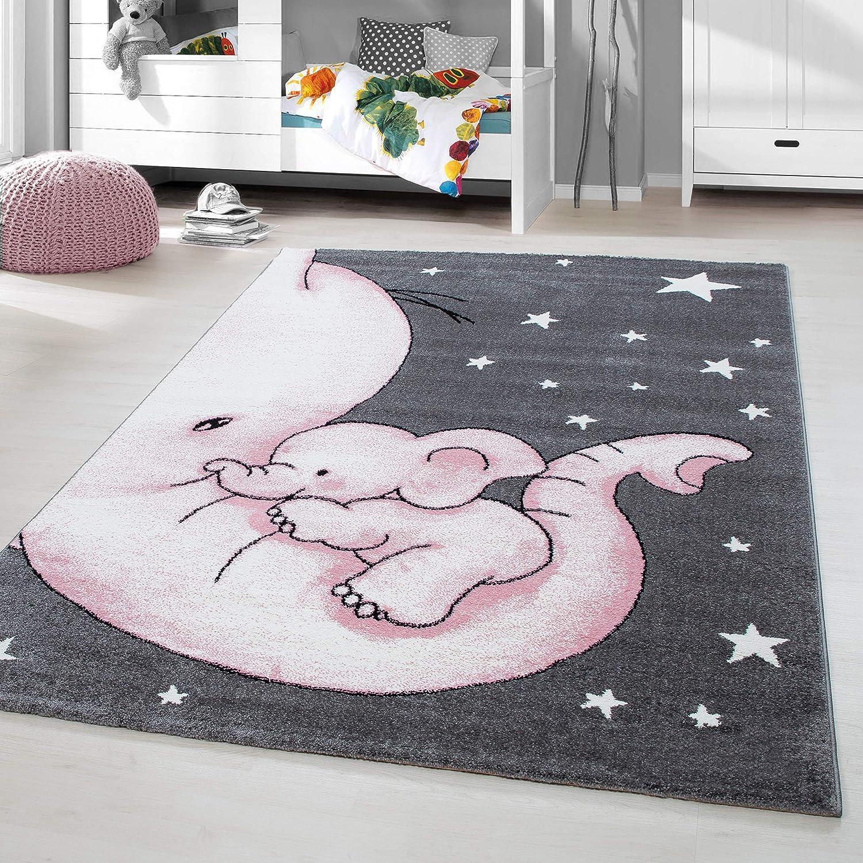 HomebyHome Kinderteppich Kurzflor Elephant Kinderzimmer Babyzimmer Grau Pink Meliert, Größe 160x230 cm