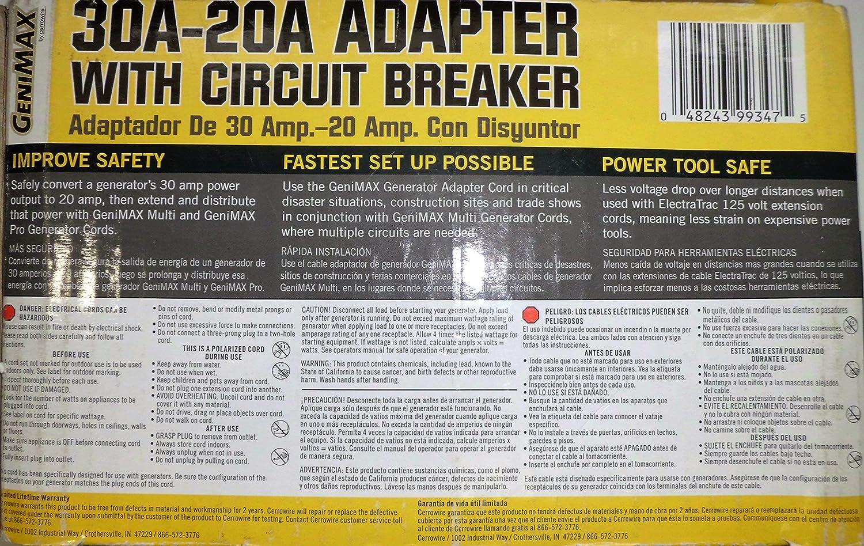 Cerrowire Genimax 30a 20a Adapter With Circuit Breaker Prime Genset Pr6500cl 5000watt Garden Outdoor
