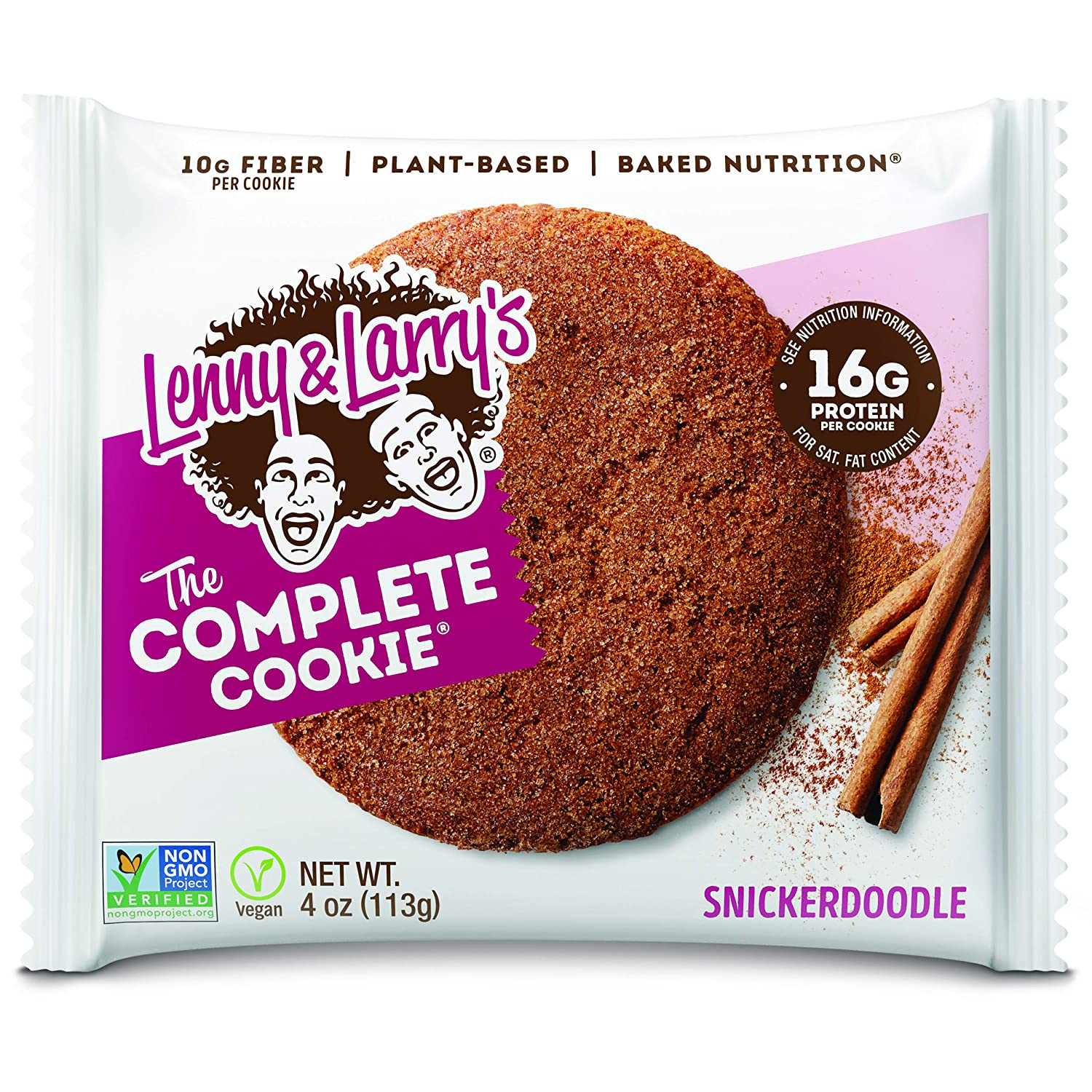 Lenny & Larry's The Complete Cookie, Snickerdoodle, Soft Baked, 16g Plant Protein, Vegan, Non-GMO, 4 Ounce Cookie (Pack of 12)