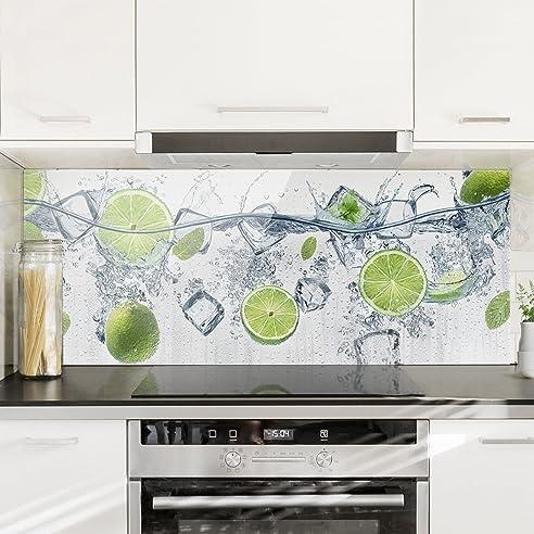 Bilderwelten Spritzschutz Glas - Erfrischende Limette - Panorama