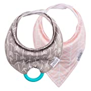 Dr. Brown's Super Soft Bandana Bibs with One Snap-On Teether, 3m+, Arrows & Herringbone, 2 Count