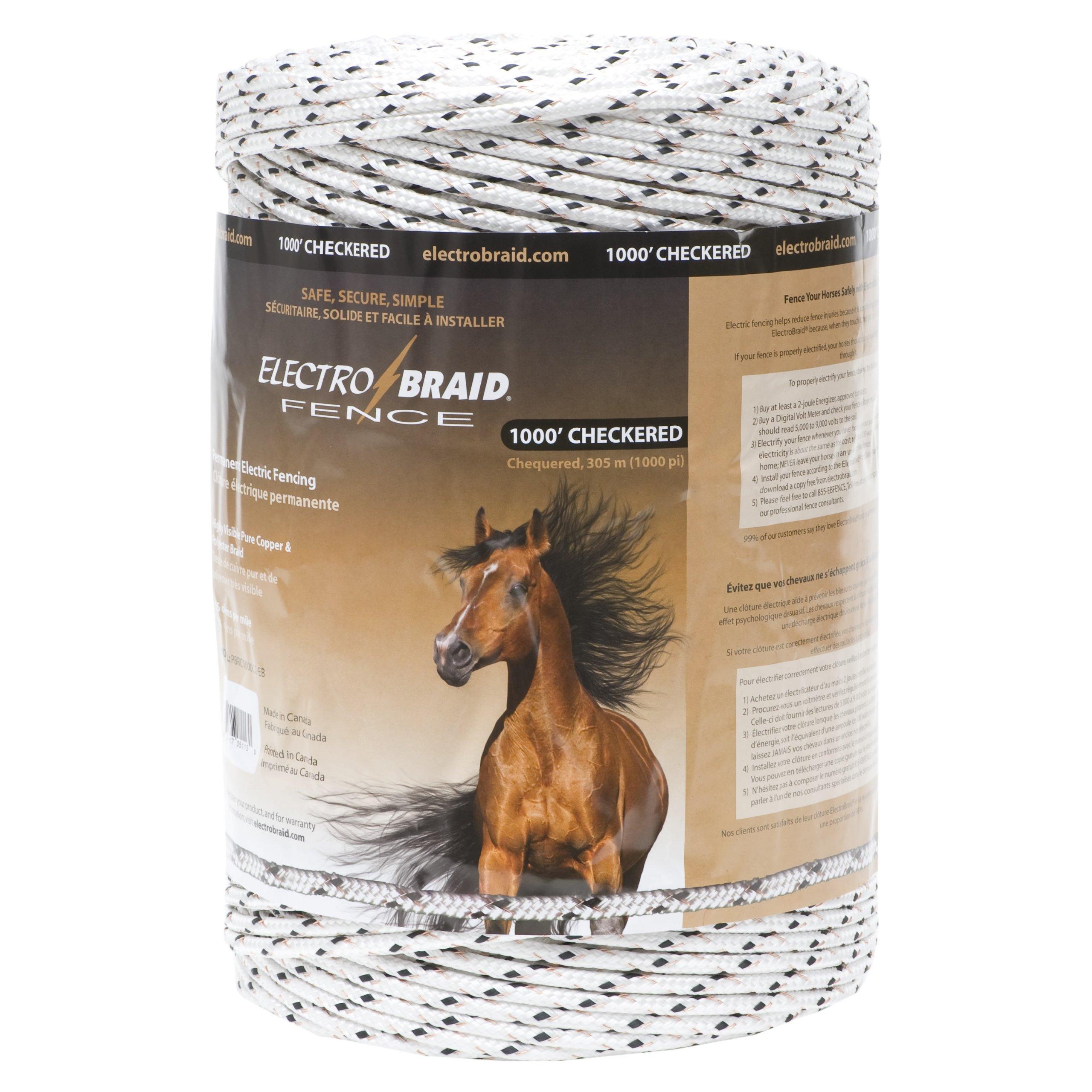ElectroBraid PBRC1000C2-EB Horse Fence Conductor Reel, 1000-Feet, Checkered by ElectroBraid