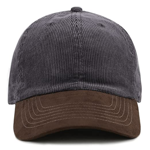 74e7b554a06 THE HAT DEPOT Cotton Corduroy Suede Visor Adjustable Unstructured Soft  Plain Cap (Dark Grey