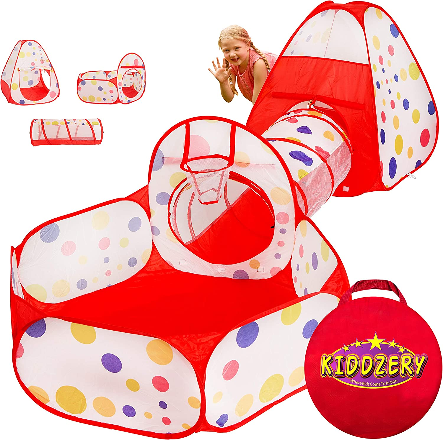 """3pc Kids Play Tent Tunnel Portable Folding Play House with Carry Case Castle Prince or Princess Children/'s Pop Up /""""Rocket Ship,/"""" Tent for Indoor or Outdoor Use /& Ball Pit with Basketball Hoop Toys"""