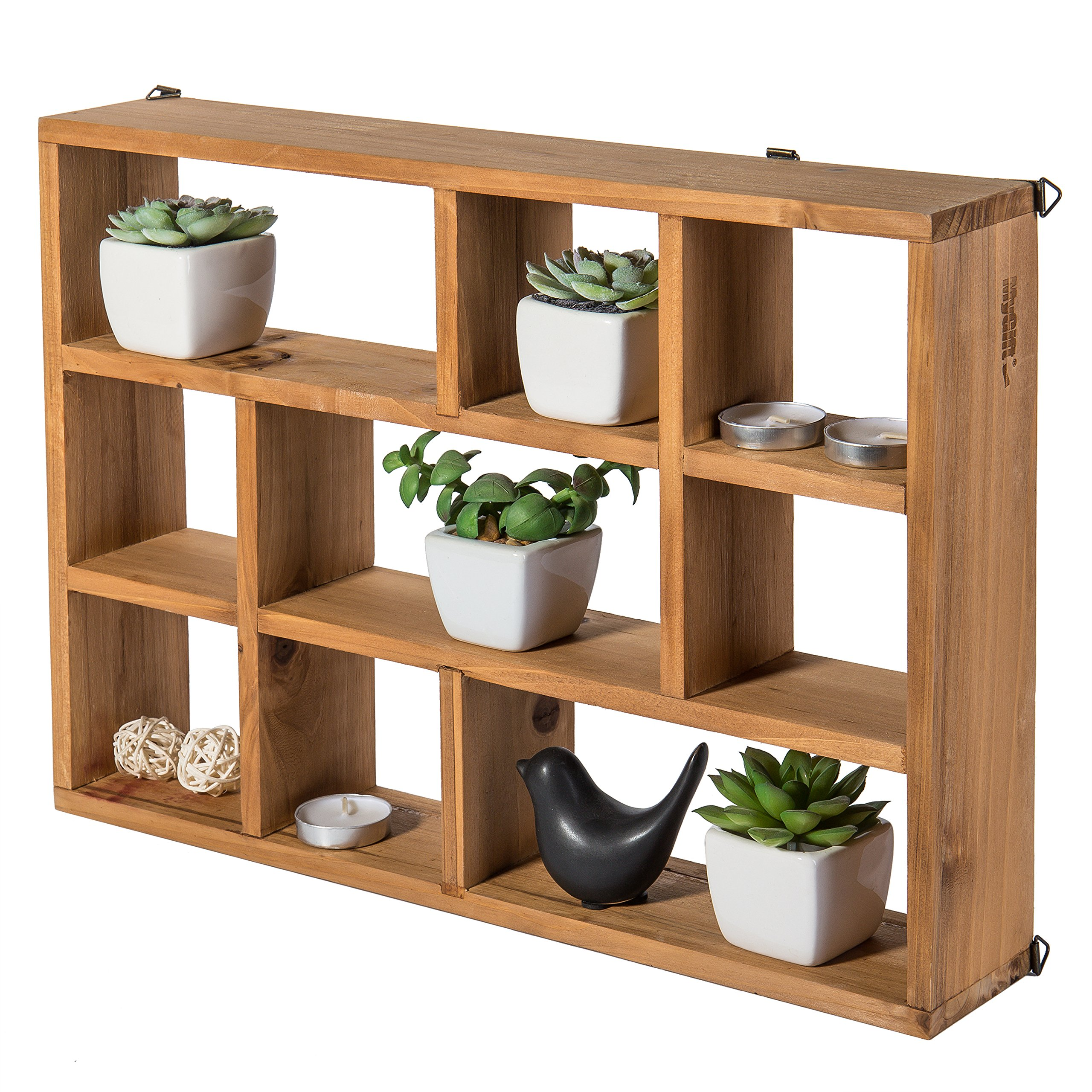 MyGift 15 Inch Wall Mount (Vertical or Horizonal) 9 Slot Rustic Wood Floating Shelves/Freestanding Shadow Box