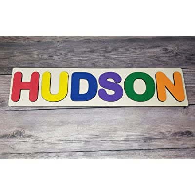 Personalized Primary Handmade Wooden Name Puzzle - Flat Rate up to 8 Letters Early Learning Toy with Personalized Engraved Text Greetings on Back: Toys & Games