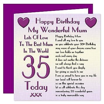 Carte 35th Joyeux Anniversaire Maman Beaucoup Damour Pour La