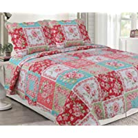 H & A Collection Rich Printed 3 Pieces Luxury Quilt Set with 2 Quilted Shams