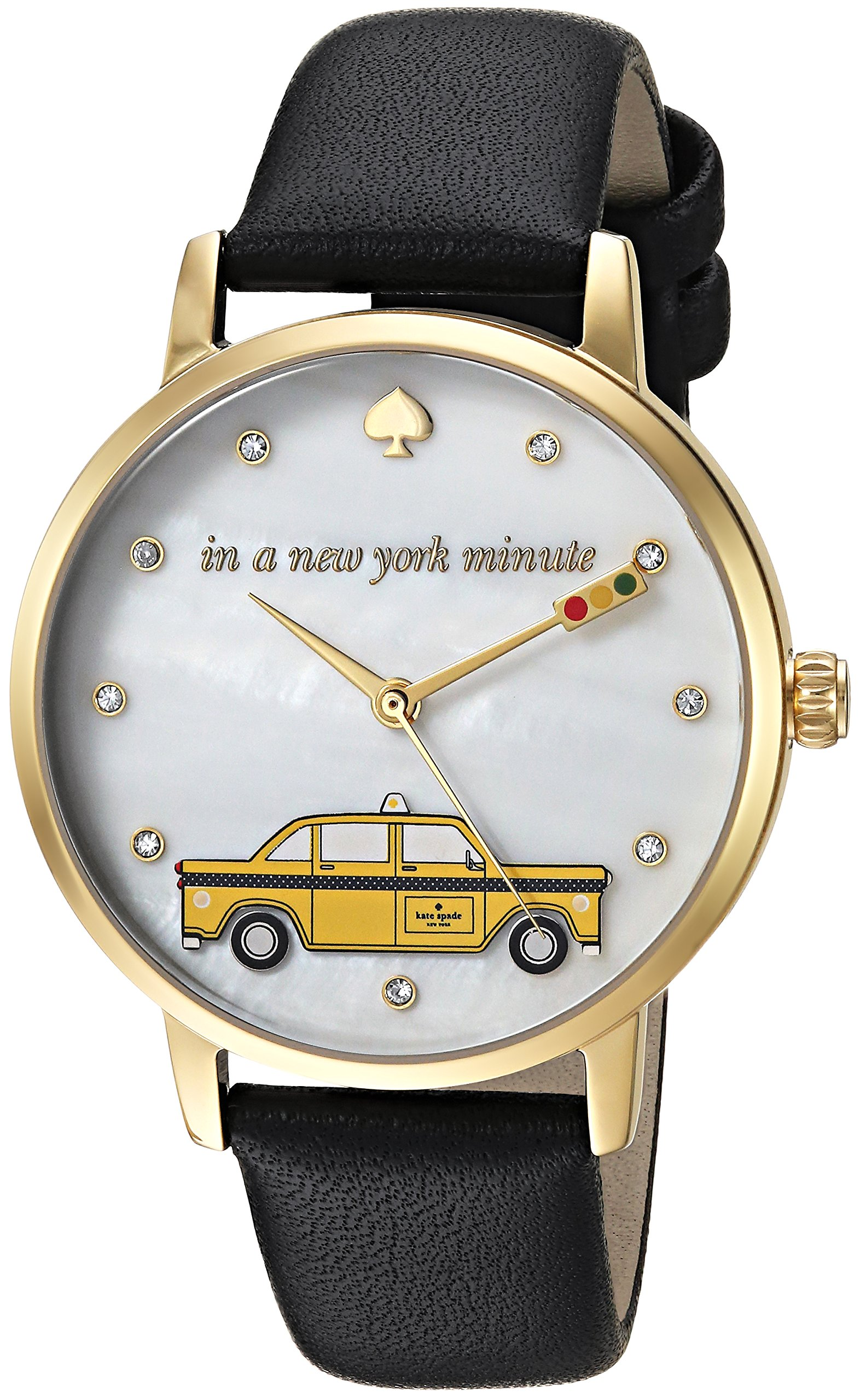 kate spade new york Women's 'Metro' Quartz Stainless Steel and Leather Casual Watch, Color:Black (Model: KSW1346)