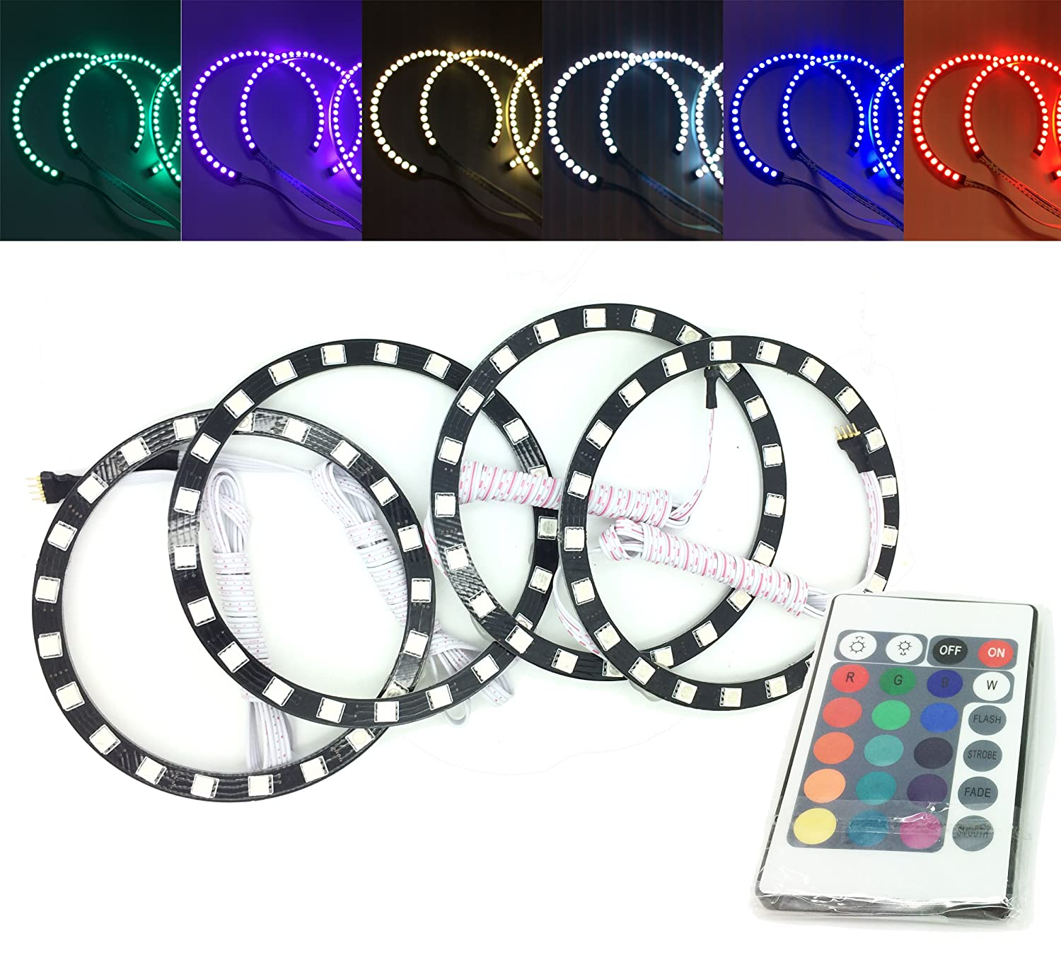 Does Not Apply Rgbkit 4 110 4x Rgb Led Angel Eye Halo Rings Light Eyes Neon Ring Ccfl Shadow Double Remote Control Car Motorbike